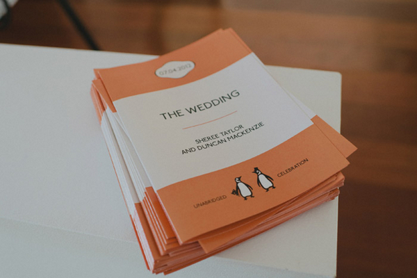 Orange & White Wedding Programmes | Love Wed Bliss
