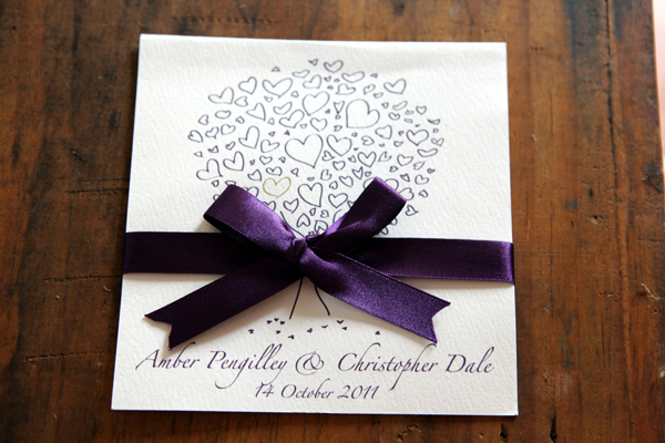 Heart Themed Wedding Invite in Purple | Love Wed Bliss