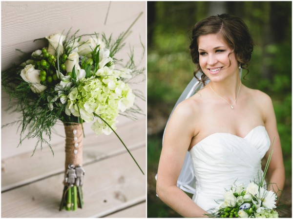 Green & White Rustic Wedding Bouquet