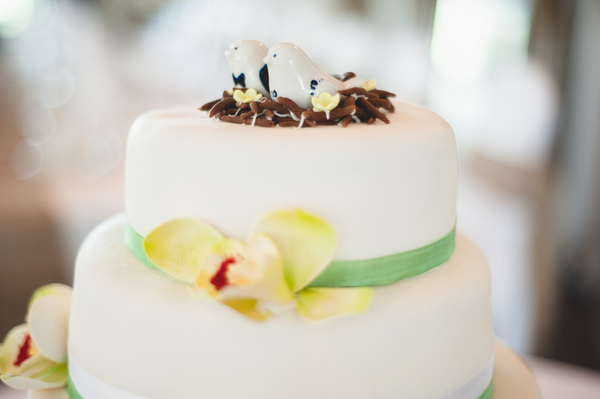 Hand Painted Birds Cake Topper