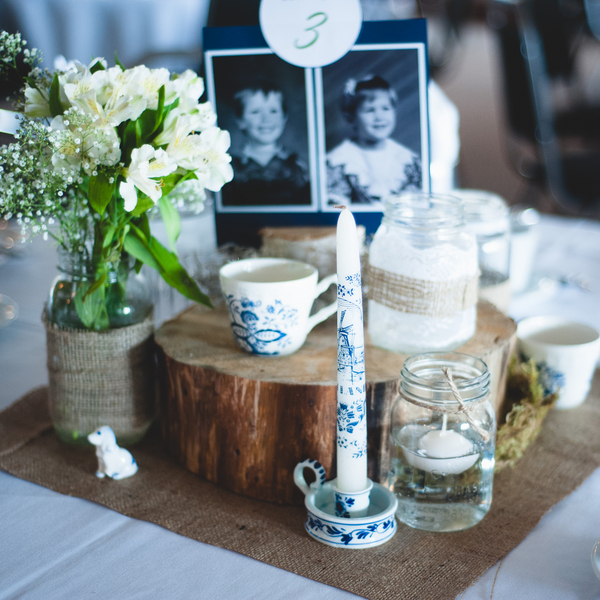 Rustic Budget Wedding Centrepieces