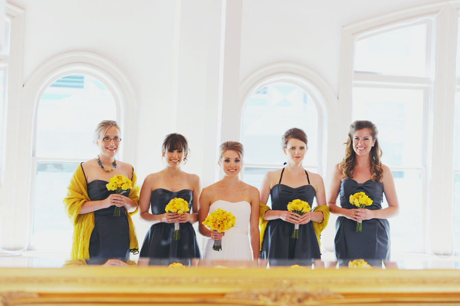 teal and yellow bridesmaids Teal and Yellow Casual Affair at The Rose Room Boise Idaho