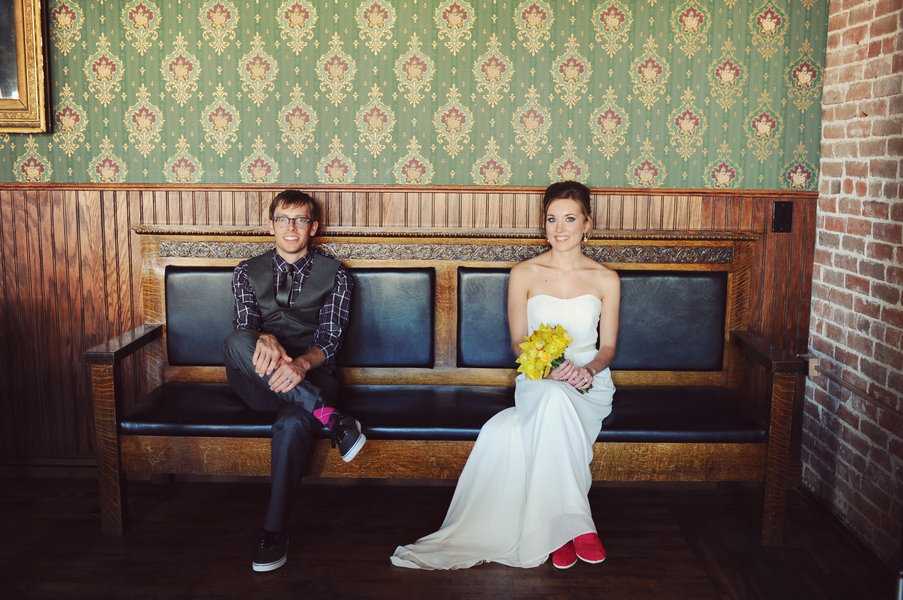 Teal and Yellow Casual Wedding