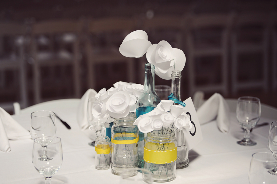 Teal and Yellow Centerpieces