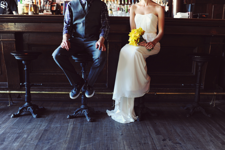 Yellow and Teal Casual Wedding