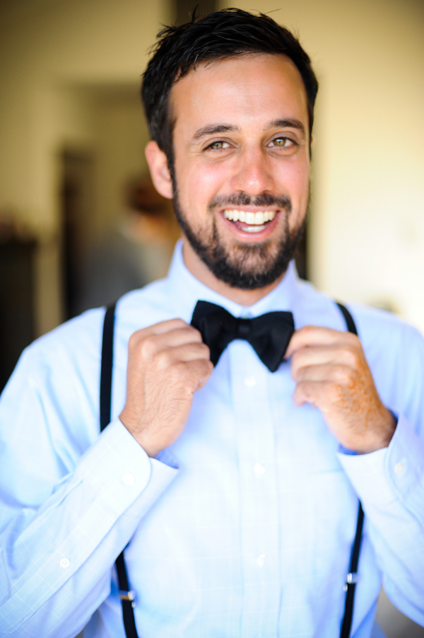 groom bowtie braces Indian Jewish Wedding from Bellalu Photography