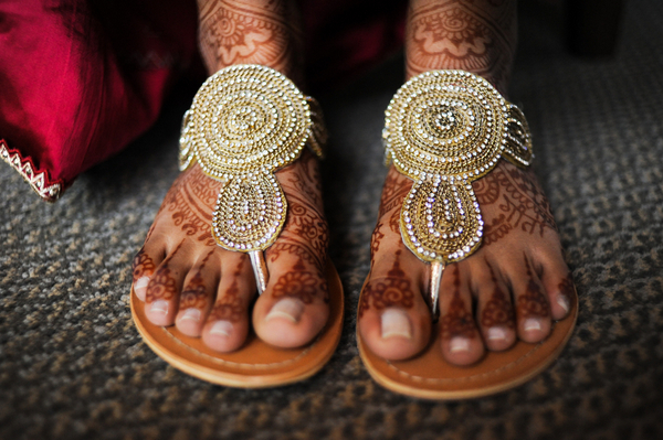 indian wedding gold flat sandals Indian Jewish Wedding from Bellalu Photography