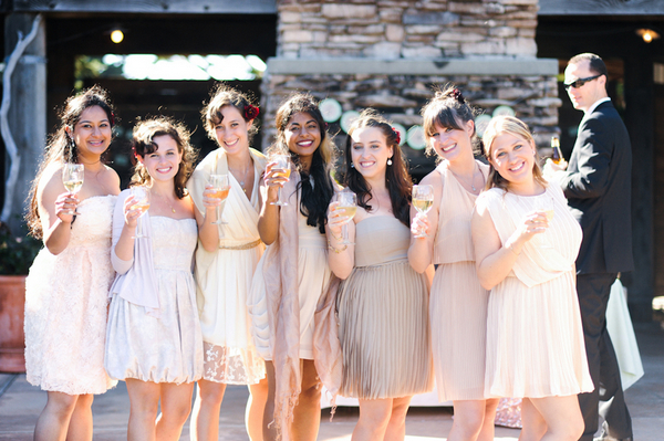 mismatched pastel bridesmaids Indian Jewish Wedding from Bellalu Photography