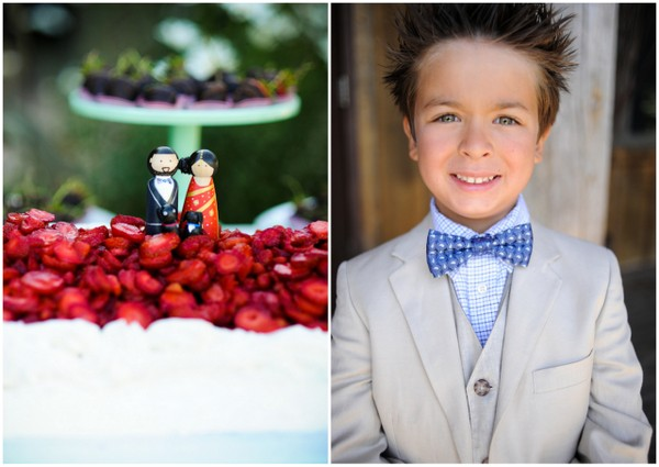 Ring Bearer in Neutral Suit & Blue Bow Tie