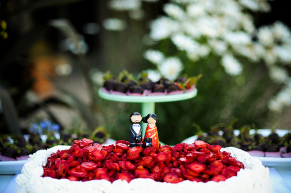 strawberry shortcake wedding cake Indian Jewish Wedding from Bellalu Photography