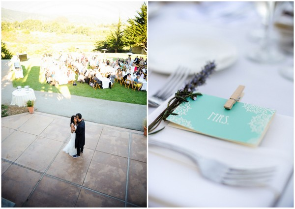 turquoise wedding place setting cards Indian Jewish Wedding from Bellalu Photography