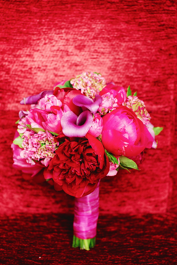 Peonies and Callas in Pink and Purple Bouquet