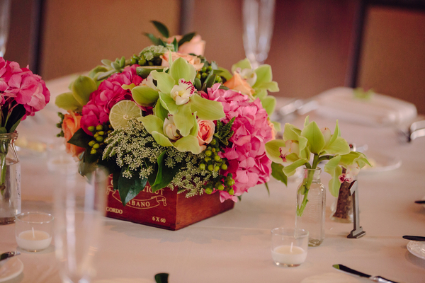 pink green wedding centerpiece key west 8 Key West Destination Wedding by Richard Bell Photography