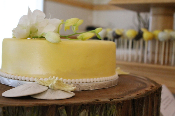 Yellow & White Beach Theme Wedding Cake