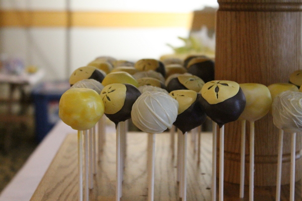 Yellow & White Cake Pops at Wedding