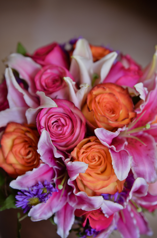Bright Pink and Orange Bridal Bouquet | Love Wed Bliss