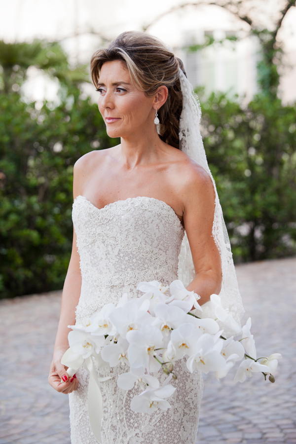 Lace Wedding Dress with White Orchids Bouquet