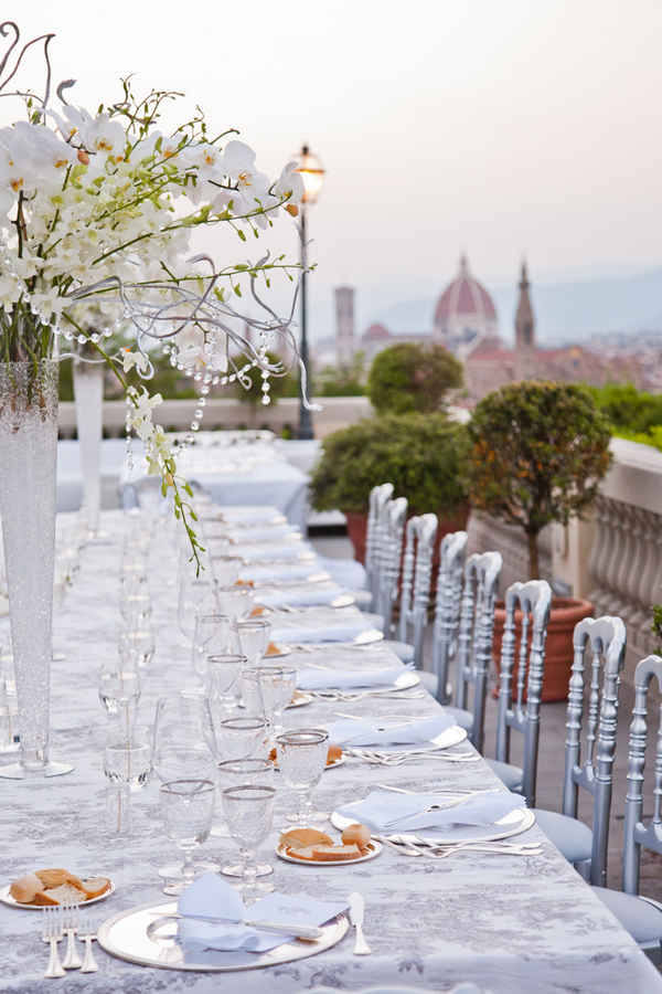 White lace crystals wedding in florence italy for All white wedding theme pictures