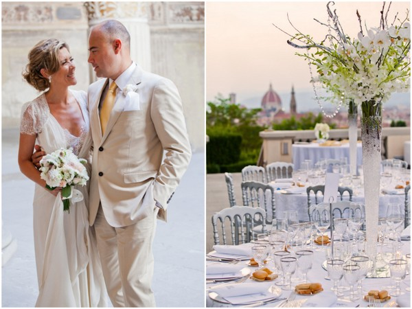 white and crystal wedding White Lace & Crystals Wedding in Florence Italy