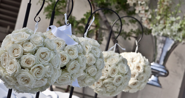 White Floral Ball Arrangements