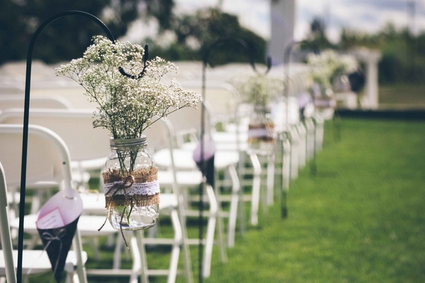 babys breath mason jars 15 Darling DIY Wedding in Washington DC by Kat Skye Photography