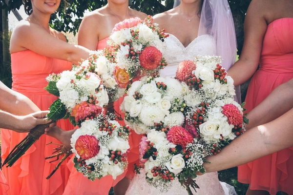 coral white bridal bouquets 9 Darling DIY Wedding in Washington DC by Kat Skye Photography