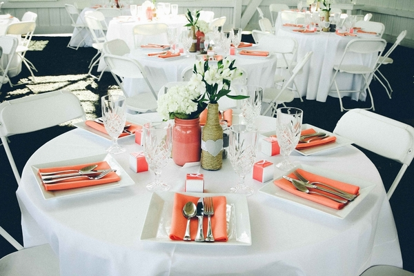 coral white diy wedding table 17 Darling DIY Wedding in Washington DC by Kat Skye Photography