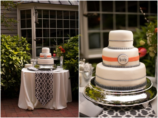 3 Tier Wedding Cake with Grey & Peach Details