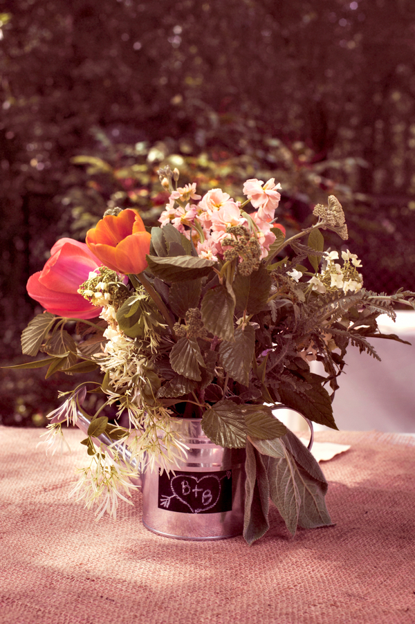 Backyard Garden Wedding Centerpiece