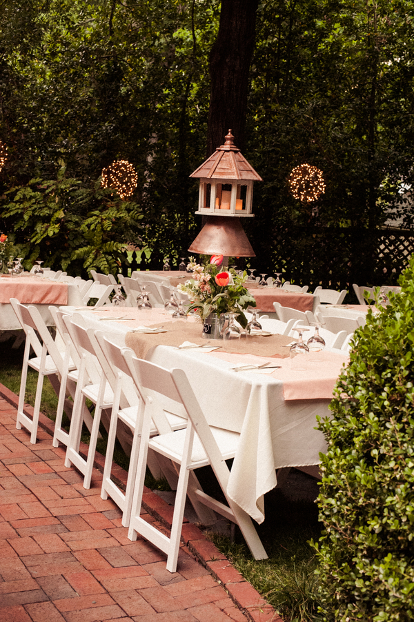 Backyard Garden Wedding Table Decorations
