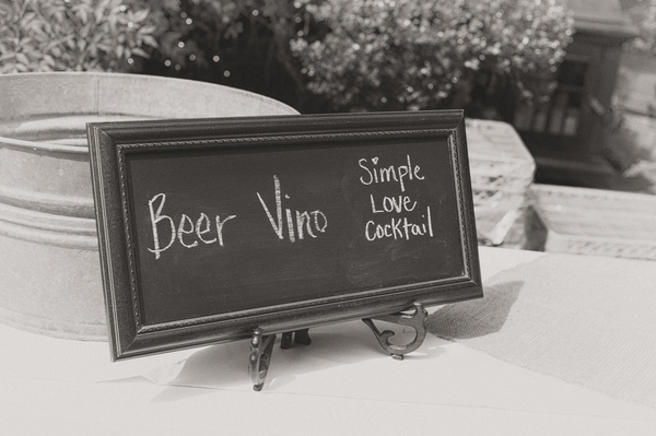 Chalkboard Sign at Backyard Wedding