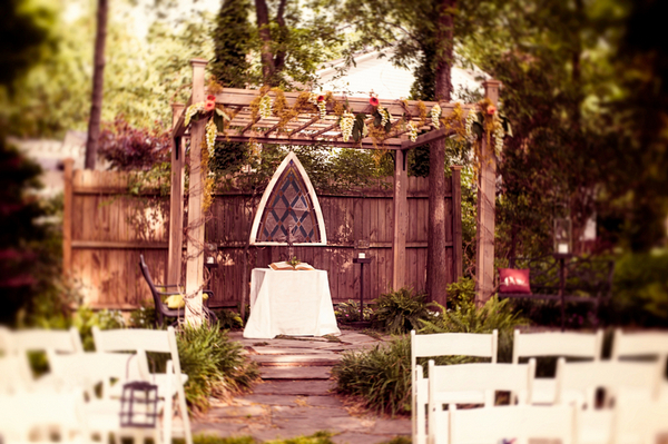 Garden Backyard Ceremony Setting
