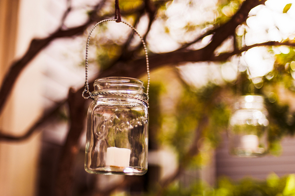 Hanging Tea Light Candles in Jars