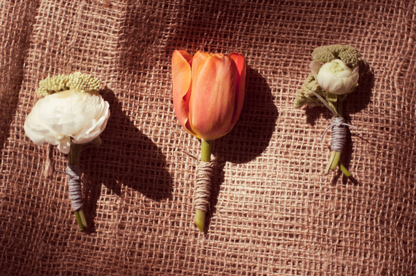Rustic Boutonnieres at Garden Wedding