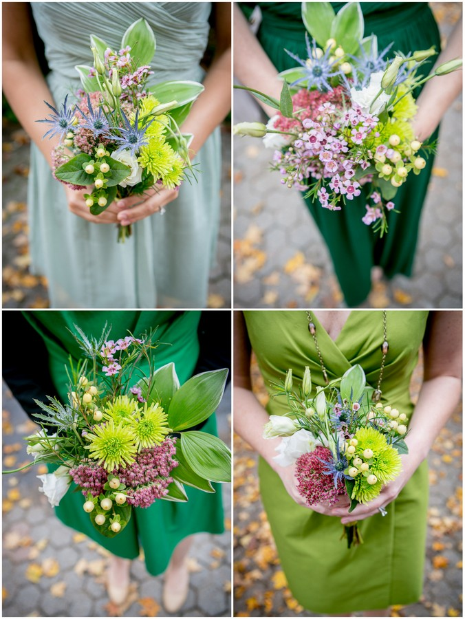 green organic bridesmaids bouquets Outdoor Forest Wedding on the Connecticut River