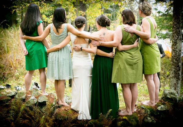 Mismatched Green Bridesmaids