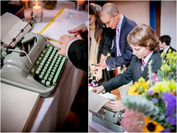 vintage typewriter guest book Outdoor Forest Wedding on the Connecticut River