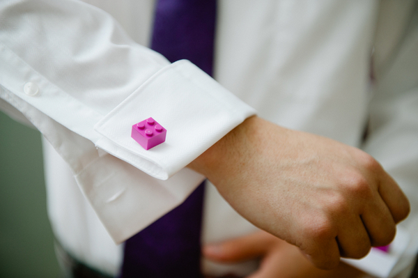 Lego Cufflinks on Groom