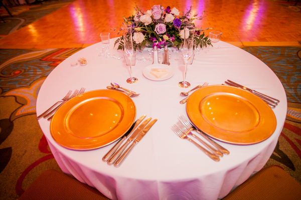 gold plates wedding table 14 Majestic Renaissance Vinoy Wedding by Gary Kaplan Photography