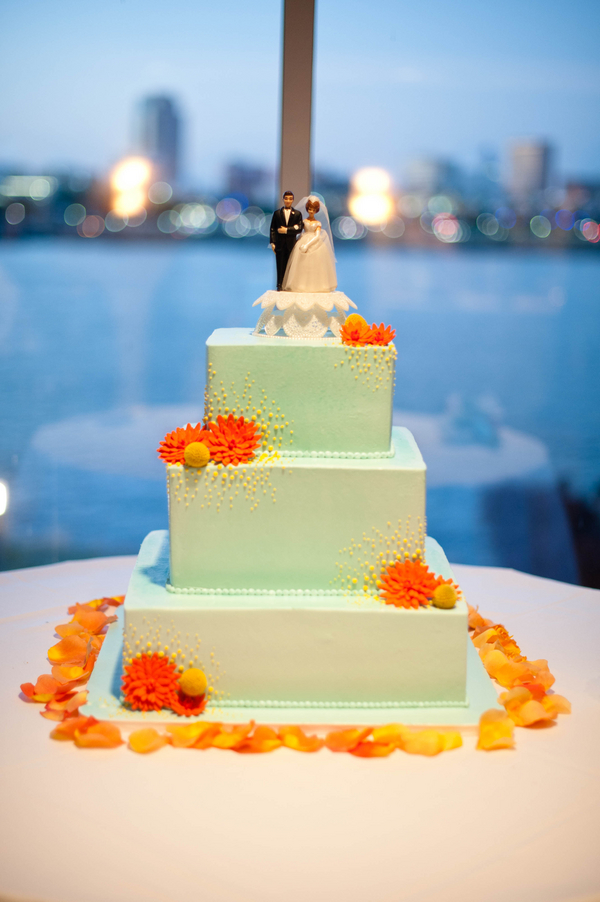 Orange and Aqua Wedding Cake http://www.lovewedbliss.com/real-weddings/modern-weddings/aqua-pink-orange-wedding/