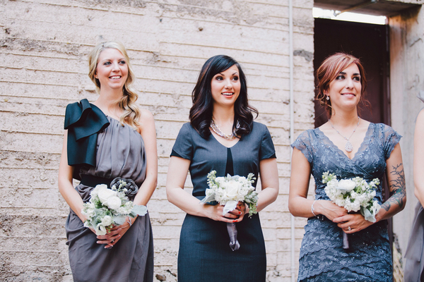 Steel Grey Bridesmaid Dresses Industrial Chic Wedding