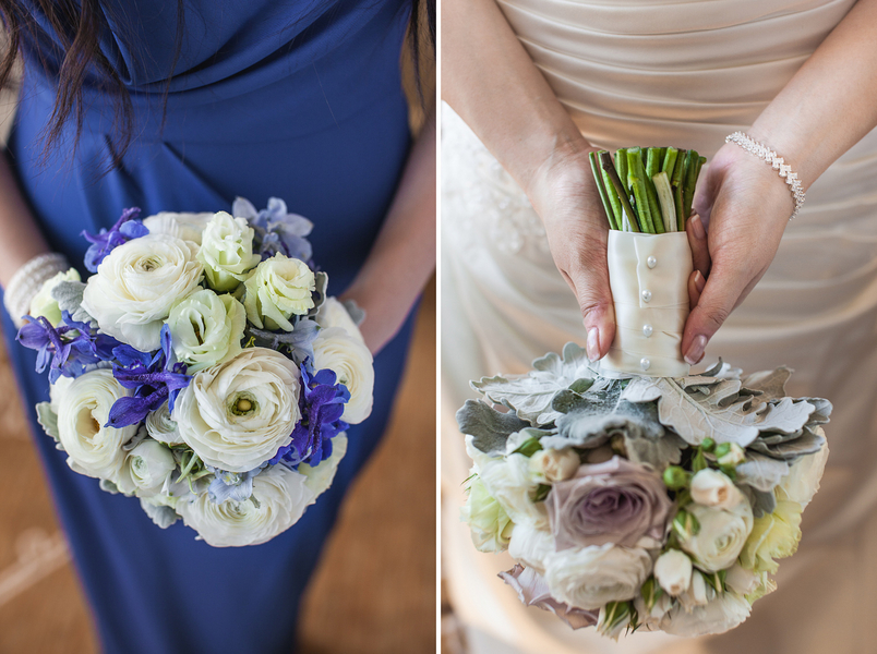 blue and cream bridal bouquets Sydney City Wedding by Hilary Cam Photography