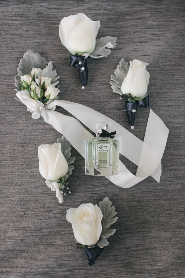 grey cream buttonholes Sydney City Wedding by Hilary Cam Photography