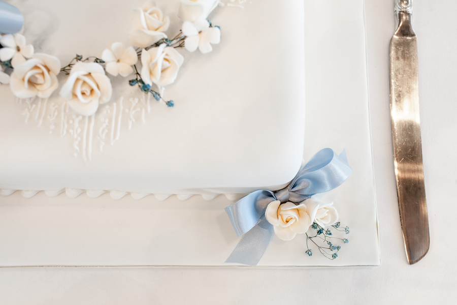 pastel blue white square wedding cake Sydney City Wedding by Hilary Cam Photography