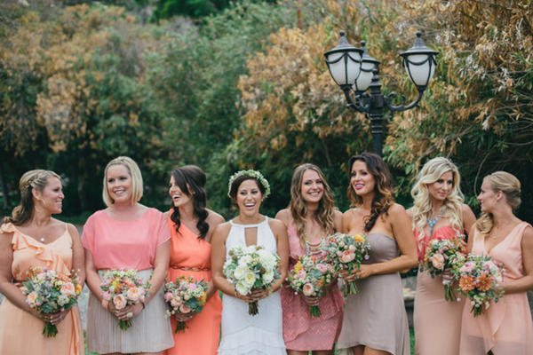 Coral & Pink Mismatched Bridesmaids | Love Wed Bliss