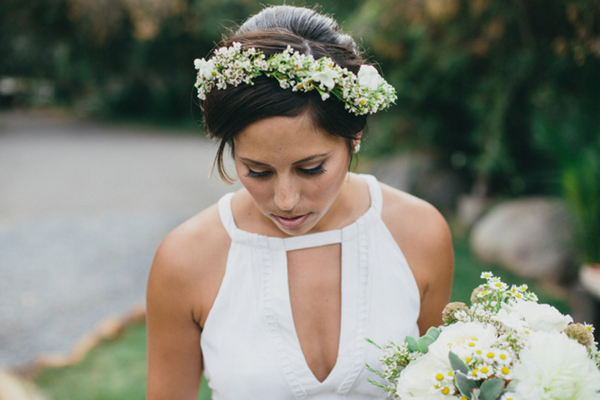 Floral Hair Wreath on Bride | Love Wed Bliss
