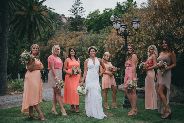 Mismatched Bridesmaids in Coral Pink & Taupe | Love Wed Bliss
