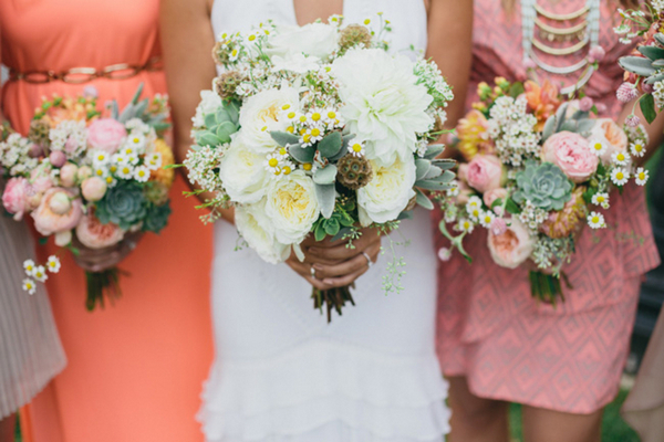 Pink Coral & White Bridesmaid Bouquets | Love Wed Bliss