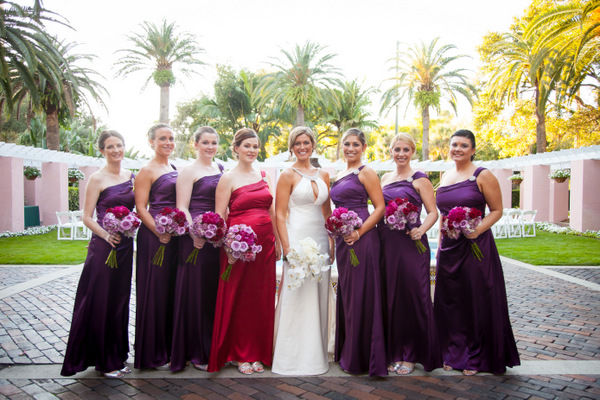 Purple Bridesmaids in Long Dresses