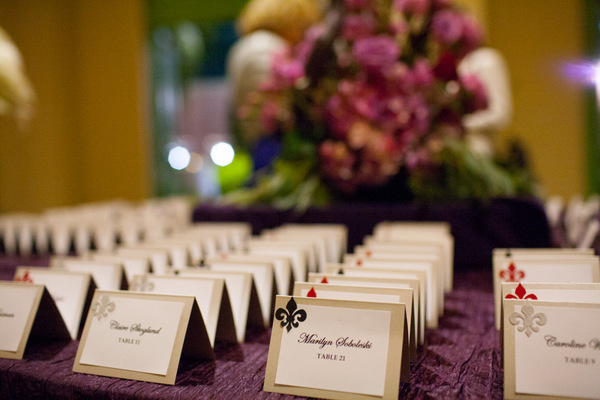 Purple Wedding Escort Table